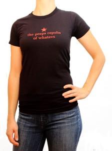 the peeps repubs of whatevs woman's black t-shirt