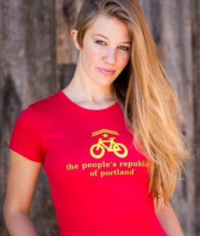 the people's republic of portland women's red bike t-shirt