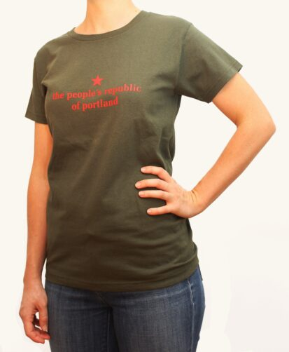 the people's republic of portland women's olive green t-shirt