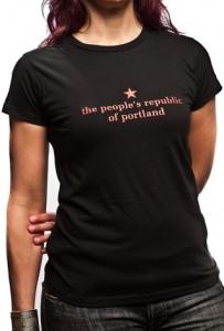 the people's republic of portland women's black t-shirt