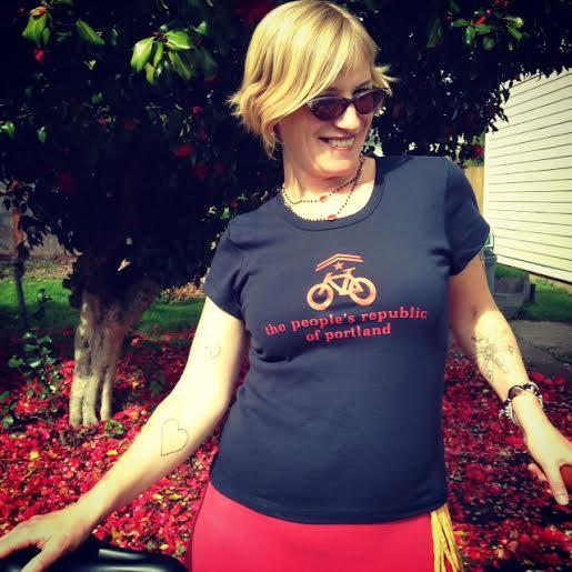 the people's republic of portland women's bike t-shirt